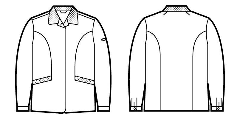 自重堂 47825 [春夏用]エコ 5バリュー 長袖スモック(JIS T8118適合) ハンガーイラスト・線画