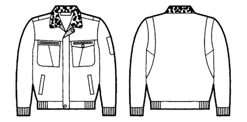 自重堂 48070 ドカジャン 制電防寒ブルゾン(襟ボア仕様) ハンガーイラスト・線画