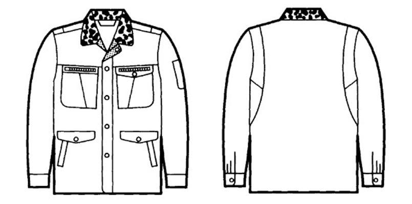 自重堂 48073 ドカジャン 制電防寒コート(襟ボア仕様) ハンガーイラスト・線画