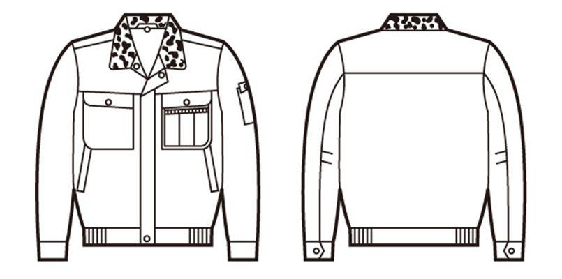 自重堂 48090 [秋冬用]綿100%防寒ブルゾン(裏地フリース・フード付) ハンガーイラスト・線画