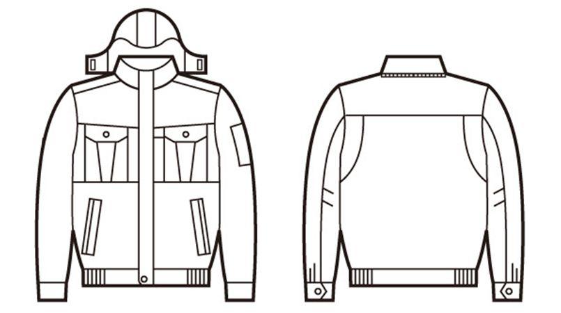 自重堂 48140 エコ防寒ブルゾン(フード付・取り外し可能) ハンガーイラスト・線画