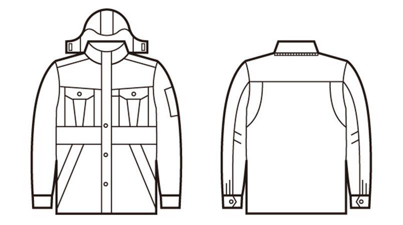 自重堂 48143 エコ防寒コート(フード付き・取り外し可能) ハンガーイラスト・線画