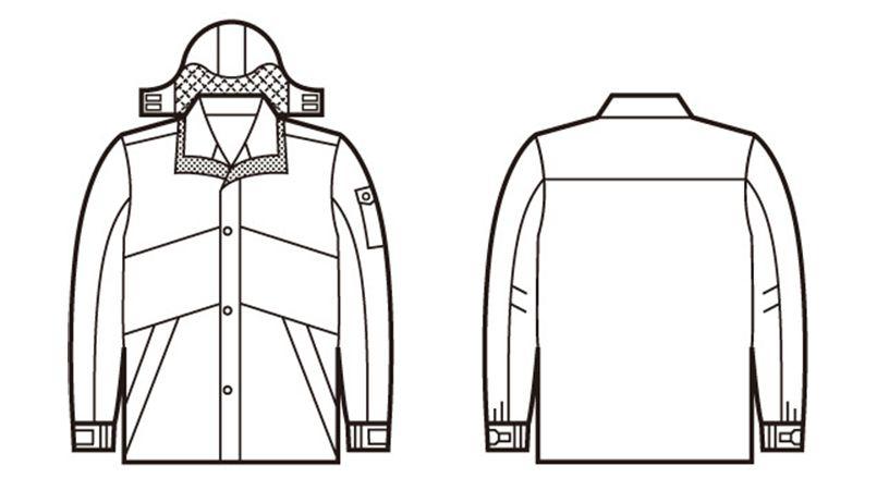 自重堂 48233 シンサレート防水防寒コート(フード付き・取り外し可能) ハンガーイラスト・線画