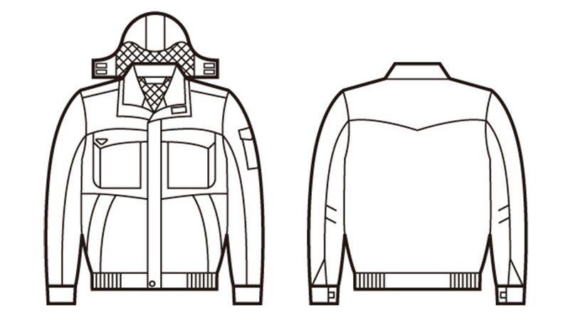 自重堂 48260 エコ防水防寒ブルゾン(フード付き・取り外し可能) ハンガーイラスト・線画