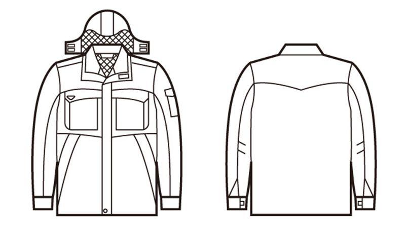 自重堂 48263 エコ防寒防寒コート(フード付き・取り外し可能) ハンガーイラスト・線画