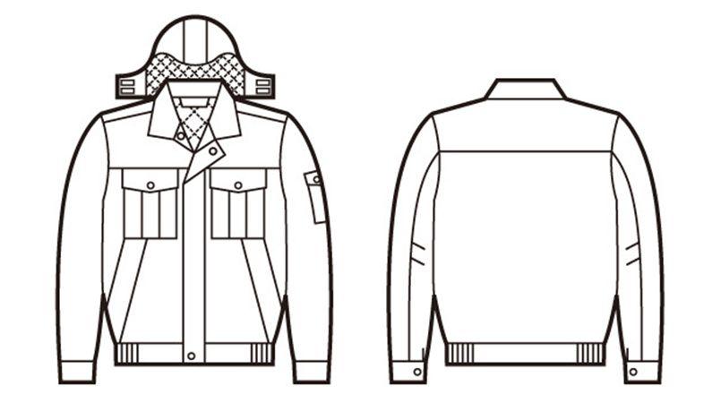 自重堂 48270 エコ防寒ブルゾン(フード付き・取り外し可能) ハンガーイラスト・線画