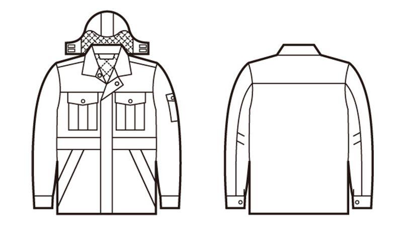 自重堂 48273 エコ防寒コート(フード付き・取り外し可能) ハンガーイラスト・線画