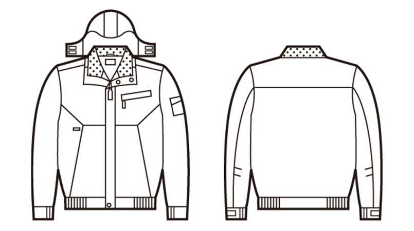 自重堂 48380 シンサレートウルトラ防水防寒ブルゾン(フード付・取り外し可能) ハンガーイラスト・線画