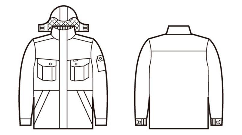自重堂 48413 製品制電防寒コート(フード付・取り外し可能)(JIS T8118適合) ハンガーイラスト・線画