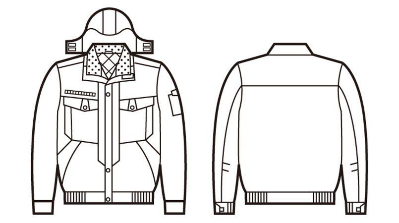 自重堂 48420 制電防寒ブルゾン(フード付き・取り外し可能) ハンガーイラスト・線画