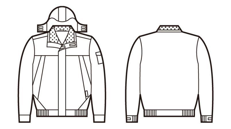 自重堂 48430 防水防寒ブルゾン(フード付・取り外し可能) ハンガーイラスト・線画