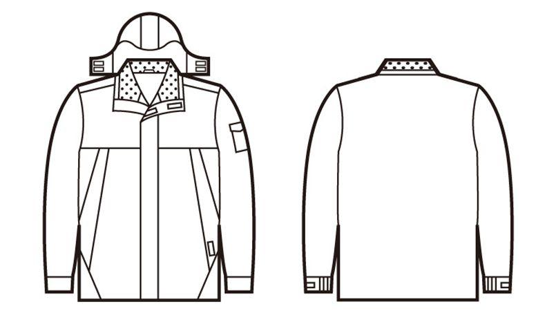 自重堂 48433 防水防寒コート(フード付・取り外し可能) ハンガーイラスト・線画