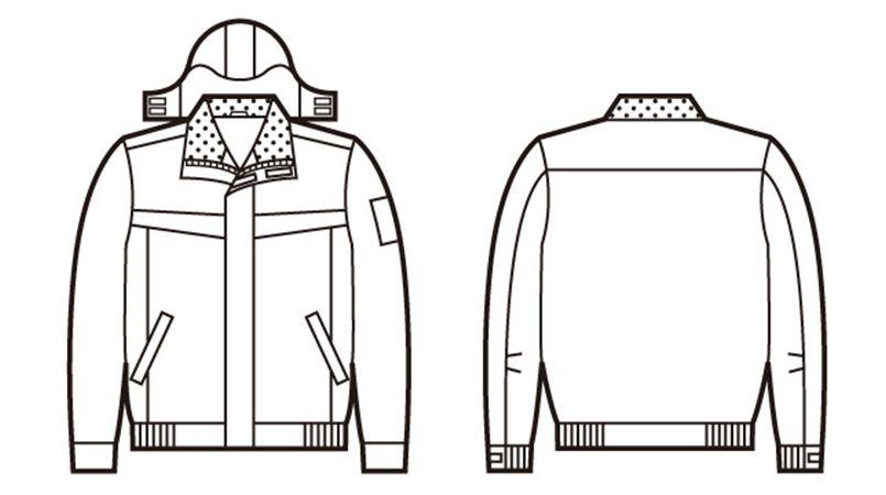 自重堂 48440 超耐久撥水 裏アルミ防寒ブルゾン(フード付・取り外し可能) ハンガーイラスト・線画