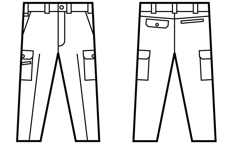 自重堂Jawin 51002 ノータックカーゴパンツ ハンガーイラスト・線画