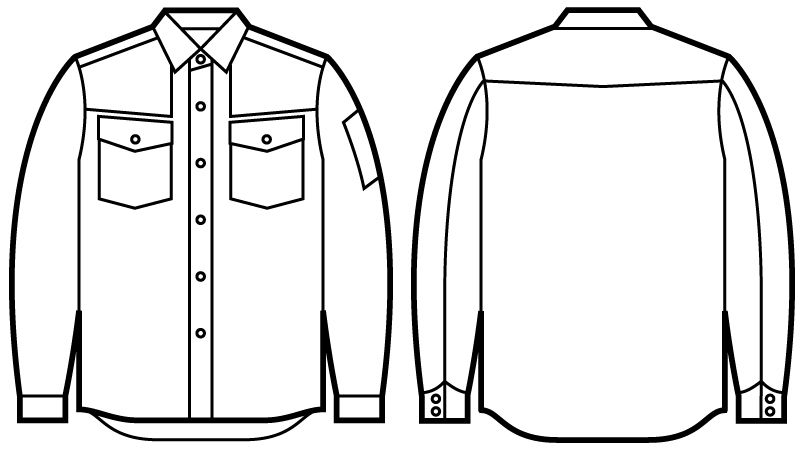 自重堂Jawin 51004 長袖シャツ(年間定番生地使用) ハンガーイラスト・線画