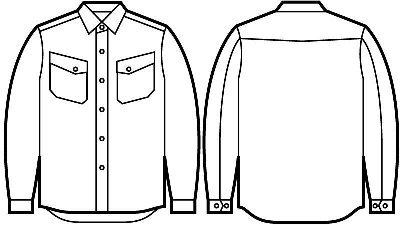 自重堂Jawin 51104 [秋冬用]長袖シャツ(年間定番生地使用) ハンガーイラスト・線画