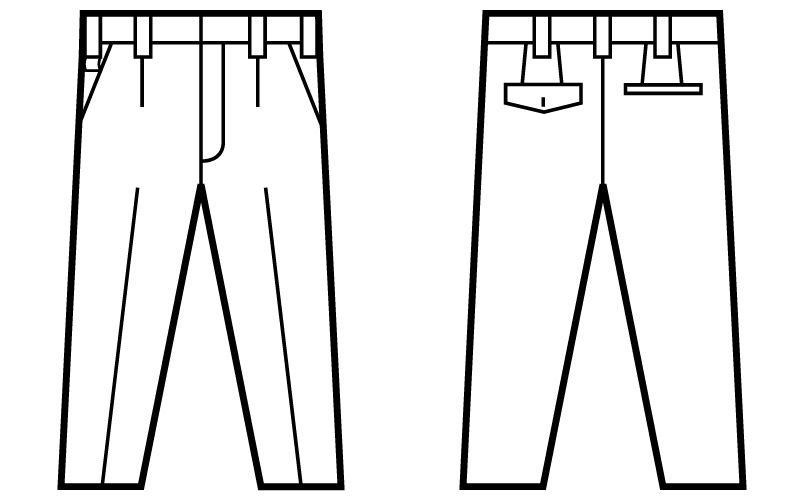 自重堂Jawin 51201 ワンタックパンツ ハンガーイラスト・線画