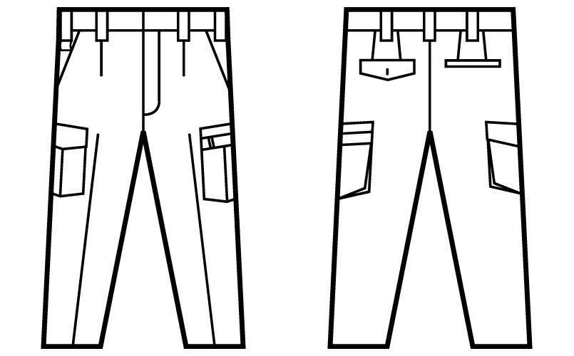 自重堂Jawin 51202 ワンタックカーゴパンツ ハンガーイラスト・線画