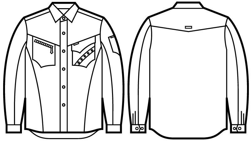 自重堂 51604 [秋冬用]JAWIN 長袖シャツ(年間定番生地使用) ハンガーイラスト・線画