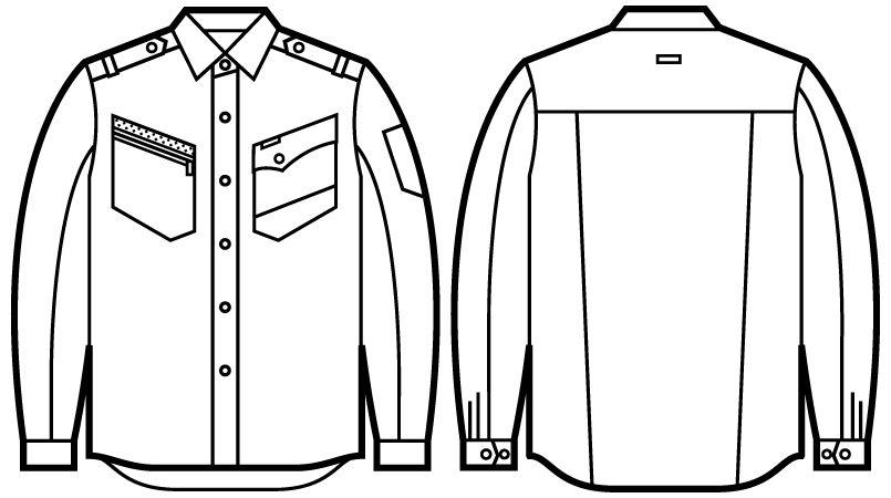 51704 自重堂JAWIN 長袖シャツ(年間定番生地使用)(新庄モデル) ハンガーイラスト・線画
