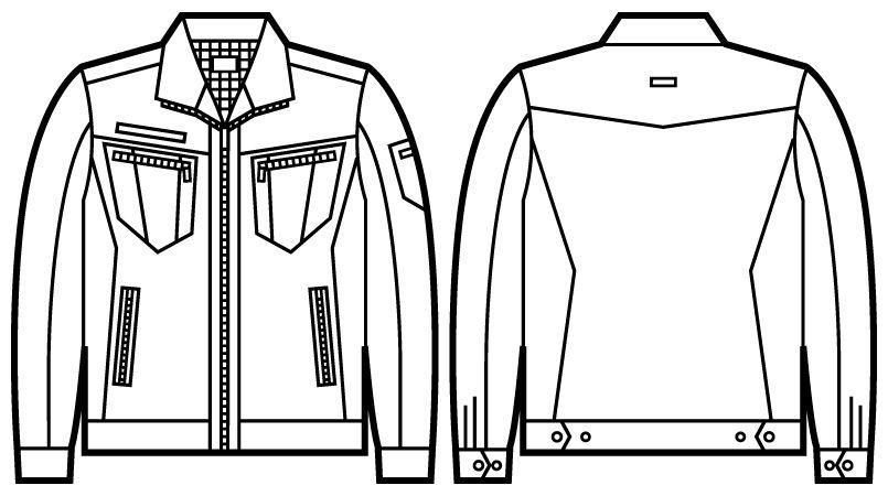 自重堂Jawin 51800 [秋冬用]長袖ジャンパー(新庄モデル) ハンガーイラスト・線画