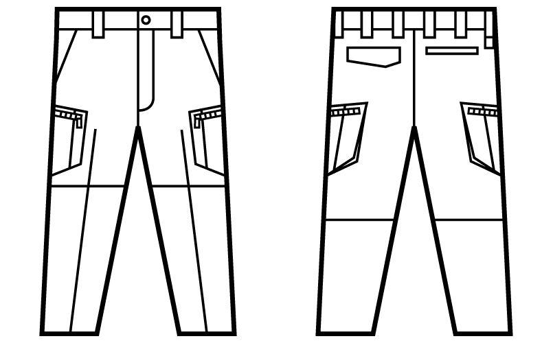 自重堂Jawin 51802 ノータックカーゴパンツ(新庄モデル)[裾上げNG] ハンガーイラスト・線画