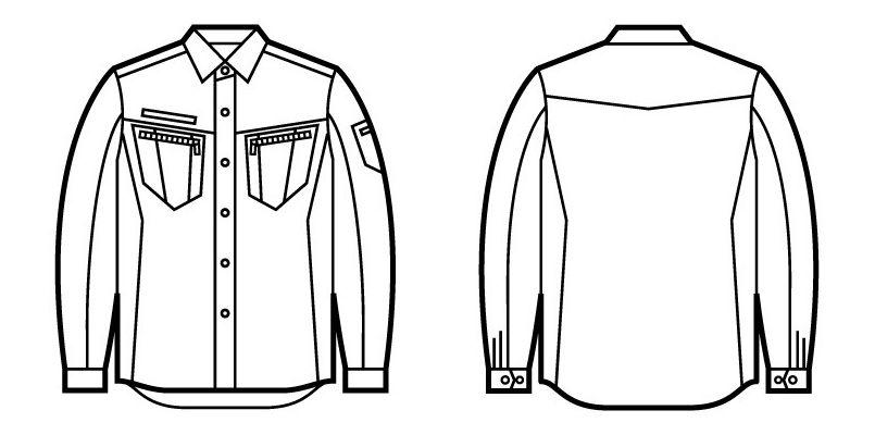 51804 自重堂JAWIN 長袖シャツ(年間定番生地使用)(新庄モデル) ハンガーイラスト・線画