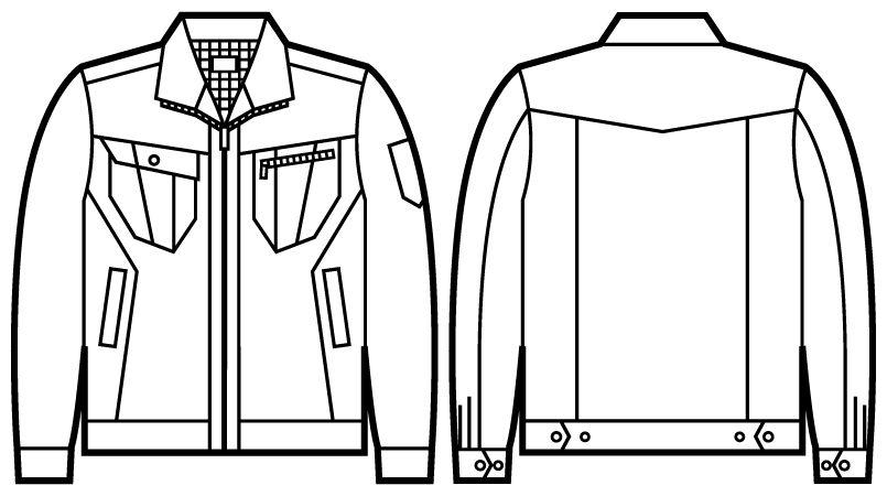 自重堂Jawin 51900 [秋冬用]長袖ジャンパー(綿100%) ハンガーイラスト・線画