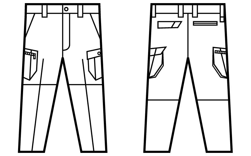 自重堂 51902 [秋冬用]JAWIN ノータックカーゴパンツ(綿100%) ハンガーイラスト・線画