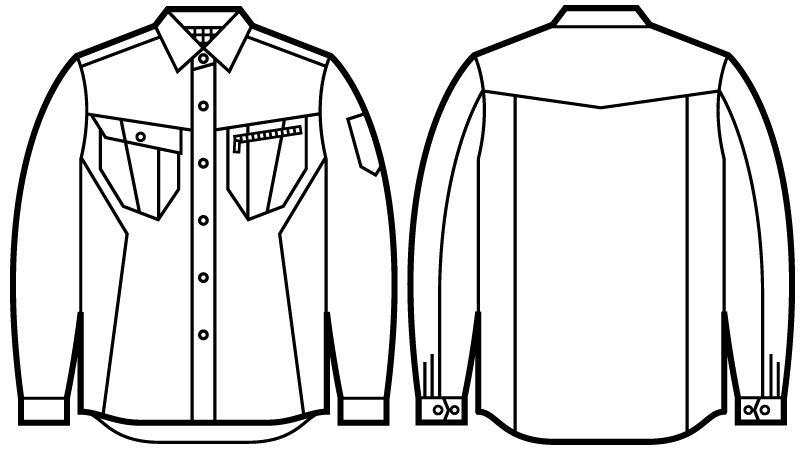 自重堂Jawin 51904 [秋冬用]長袖シャツ(年間定番生地使用)(綿100%) ハンガーイラスト・線画