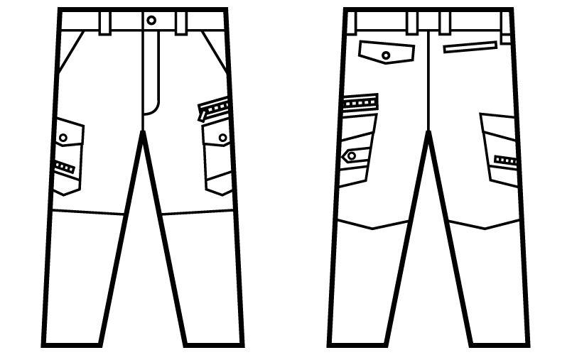 自重堂 52102 [秋冬用]JAWIN ノータックカーゴパンツ(新庄モデル) 裾上げNG ハンガーイラスト・線画