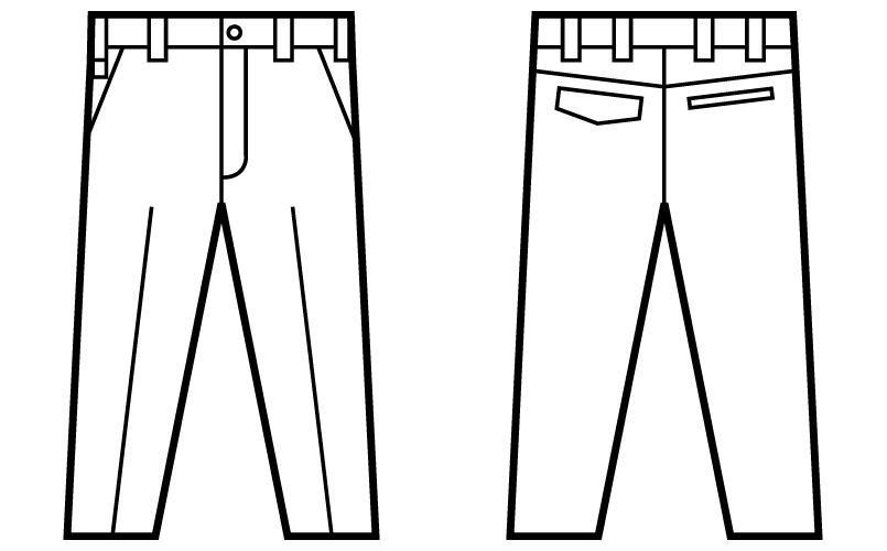 自重堂Jawin 52201 ノータックパンツ(新庄モデル) ハンガーイラスト・線画
