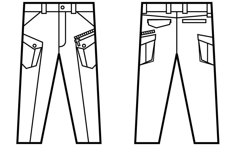 自重堂Jawin 52402 [秋冬用]ノータックカーゴパンツ(新庄モデル) ハンガーイラスト・線画