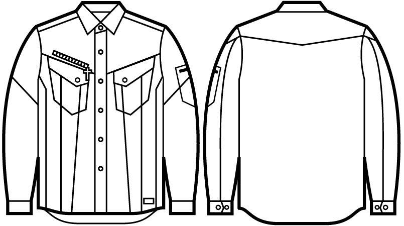 自重堂 52404 [秋冬用]JAWIN 長袖シャツ(新庄モデル) ハンガーイラスト・線画