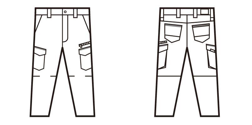 自重堂Jawin 52602 ストレッチノータックカーゴパンツ ハンガーイラスト・線画