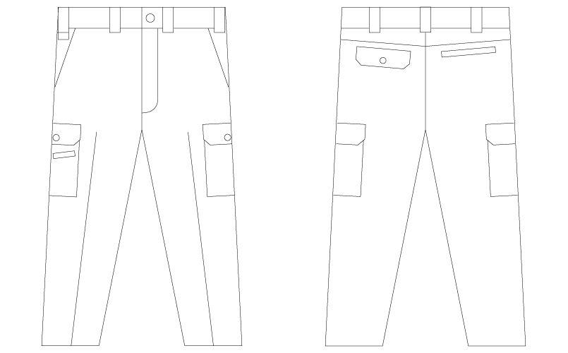 自重堂Jawin 55002 [春夏用]ノータックカーゴパンツ(綿100%) ハンガーイラスト・線画