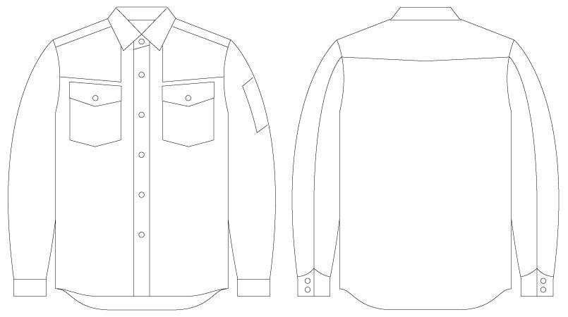 自重堂Jawin 55004 [春夏用]長袖シャツ(綿100%) ハンガーイラスト・線画