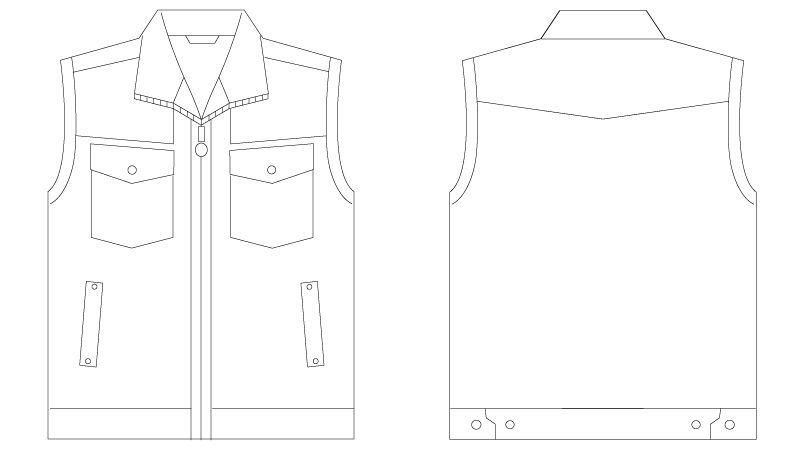 自重堂 55010 [春夏用]JAWIN ベスト(綿100%) ハンガーイラスト・線画