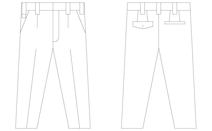 自重堂Jawin 55201 [春夏用]ワンタックパンツ ハンガーイラスト・線画