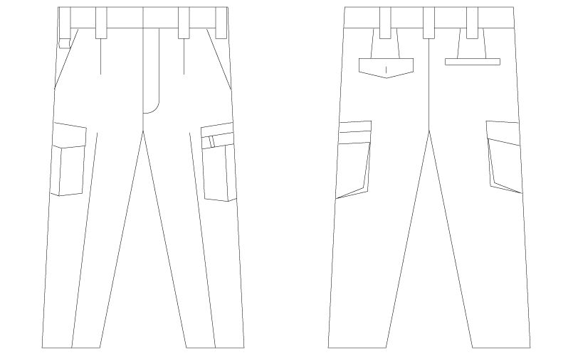 自重堂Jawin 55202 [春夏用]ワンタックカーゴパンツ ハンガーイラスト・線画