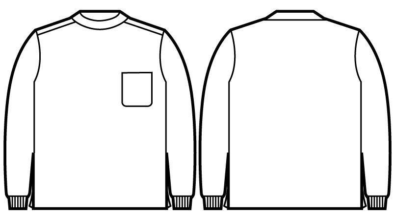 自重堂 55324 JAWIN 吸汗速乾 長袖ドライ ロールネックシャツ(胸ポケット有り) ハンガーイラスト・線画