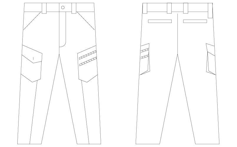 自重堂Jawin 55402 [春夏用]ノータックカーゴパンツ(迷彩柄) ハンガーイラスト・線画