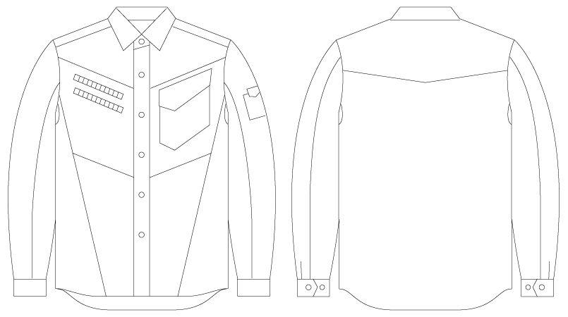 自重堂Jawin 55404 [春夏用]長袖シャツ(迷彩柄) ハンガーイラスト・線画