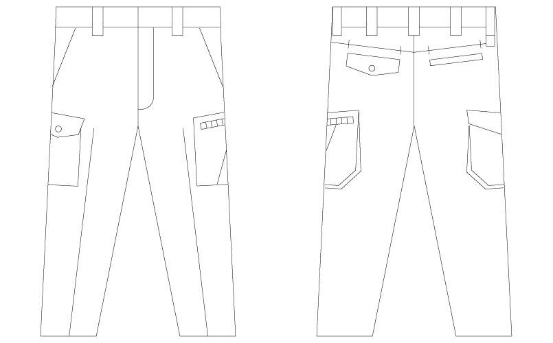 自重堂 55502 [春夏用]JAWIN ノータックカーゴパンツ ハンガーイラスト・線画