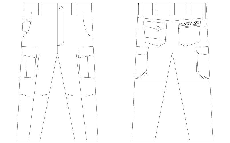 自重堂Jawin 55702 [春夏用]ノータックカーゴパンツ(新庄モデル) ハンガーイラスト・線画
