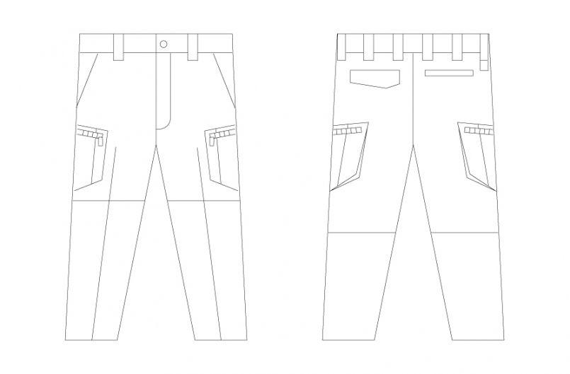 自重堂 55802 [春夏用]JAWIN ノータックカーゴパンツ(新庄モデル) ハンガーイラスト・線画