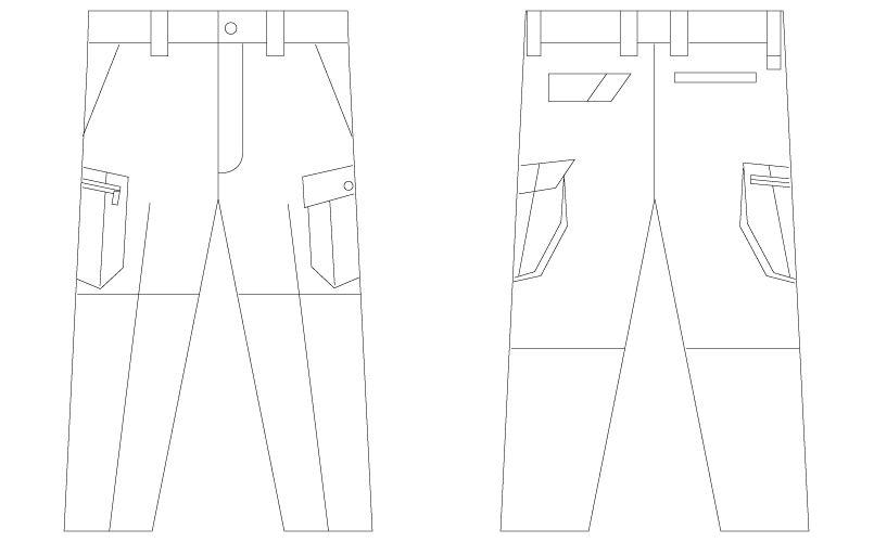 自重堂Jawin 55902 [春夏用]ノータックカーゴパンツ(綿100%)(新庄モデル) ハンガーイラスト・線画