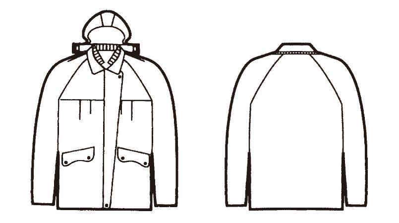 自重堂 560 レディース防寒コート(フード付) ハンガーイラスト・線画