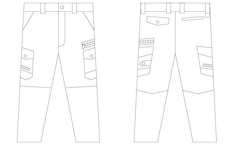 自重堂Jawin 56002 [春夏用]ノータックカーゴパンツ(新庄モデル) 裾上げNG ハンガーイラスト・線画