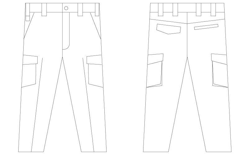 自重堂Jawin 56202 [春夏用]ノータックカーゴパンツ(新庄モデル) ハンガーイラスト・線画